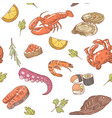 sea food hand drawn seamless pattern background vector image vector image