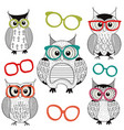 set isolated owls with glasses vector image