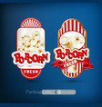 set labels for popcorn vector image vector image