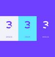 set number 3 minimal logo icon design template vector image