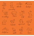 Set of Forest animals silhouette vector image