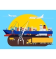 Shipping creative composition in harbour vector image