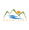 simple of the abstract mountains and river vector image