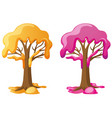 trees with yellow and pink cream vector image vector image