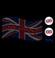 waving british flag mosaic of sinusoid wave items vector image vector image