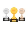 winner tennis awards set gold silver bronze vector image vector image