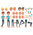young man character constructor with body parts vector image vector image