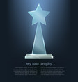 my best trophy glass triangle with star on top vector image