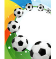 rainbow background and soccer balls vector image