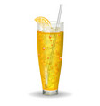 orange vitamin juice in glass with straw vector image