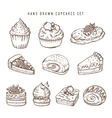 Hand drawn set of cupcakes and bakery products vector image