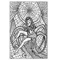 arachne spider woman engraved fantasy vector image vector image