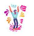 bearded man having fun throwing colorful splashes vector image vector image