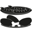 Black and white bbq plate silhouette set