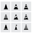 black traffic cone icon set vector image