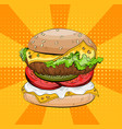 burger on pop art background big sandwich vector image vector image