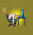 businessman sleeping at the computer vector image vector image