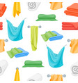 cartoon color folded towels for bathroom seamless vector image vector image