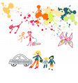 childish drawings and blots on a squared notebook vector image vector image