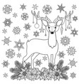 christmas deer winter holiday outline coloring vector image vector image