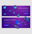 cloud payments and currency excange concept banner vector image vector image