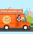 courier delivering food orders vector image vector image