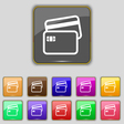 Credit card icon sign Set with eleven colored vector image vector image
