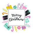 cute christmas greeting card template vector image vector image