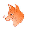 cute fox face profile view character tattoo vector image vector image