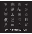 data protection editable line icons set on vector image