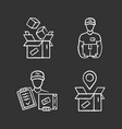 delivery chalk icons set parcel packing vector image vector image