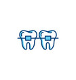 dental braces icon orthodontic teeth line icons vector image