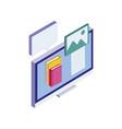 desktop with ebooks icon vector image vector image