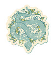 distressed sticker tattoo style icon a snake vector image vector image