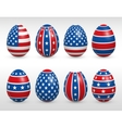 Easter eggs USA colors flags set vector image vector image
