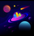 fantastic space background with ufo and good vector image vector image