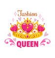 fashion queen print template golden princess vector image vector image