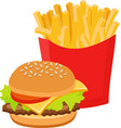 fast food set hamburger and french fries on white vector image