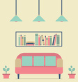 Flat Design Interior Vintage Sofa and Bookshelf vector image vector image