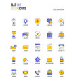 flat line multicolor icons design-basic and vector image vector image