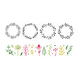 floral decorational frame with botanical doodle vector image vector image