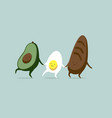 funny characters egg avocado and bread breakfast vector image