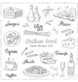 hand drawn set with italian food Vintage vector image vector image