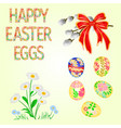 happy easter decoration easter eggs and daisy vector image vector image