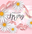 hello spring pink background with daisy flower vector image vector image