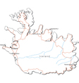 Iceland black white map vector | Price: 1 Credit (USD $1)