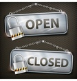 Iron sign hanging open closed vector image vector image