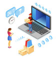 isometric internet shopping delivery and logistics vector image
