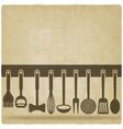 Kitchen Utensil Set old background vector image