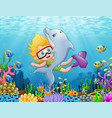 little girl with dolphin swimming under the sea vector image